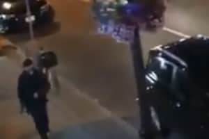 The video, reportedly by a witness, purportedly shows the gunman shooting into restaurants and cafes as he walks along a Toronto street.