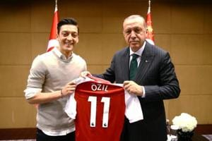 Turkish President Tayyip Erdogan meets Mesut Ozil, London, May 13. The meeting sparked an enormous controversy.