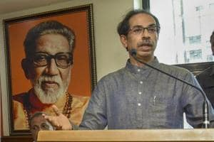 Shiv Sena President Uddhav Thackeray addresses a meeting with state transport employees, in Mumbai.