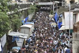 The overcrowded lane outside Lower Parel station in Mumbai.