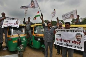 File photo of auto-rickshaw drivers at a rally addressed by Arvind Kejriwal at Ramlila Maidan in New Delhi on July 31, 2014. WIth an eye on the 2019 general elections,  Kejriwal, now Delhi's chief minister, met as many as 500 auto drivers on July 23, 2018, and assured them of increasing auto fares.