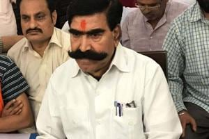 File photo of BJP MLA from Ramgarh Gyandev Ahuja speaking to media persons in Alwar circuit house.