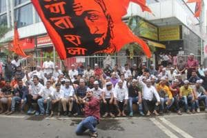 A protest by Maratha groups in Mumbai on July 22.
