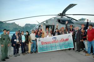 Kailash Mansarovar pilgrims at Naini Saini in Pithoragarh.