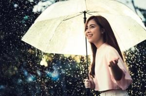 A stylish raincoat or trench coat and umbrella can make you look your best in the monsoon.
