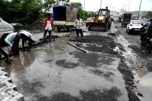 Construction work has caused waterlogging in Kalamboli.