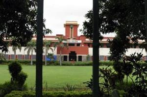 A View of Hindu College at Delhi University in New Delhi.
