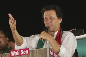 Pakistani politician Imran Khan, chief of Pakistan Tehreek-e-Insaf party, addresses supporters during an election campaign in Lahore, Pakistan.