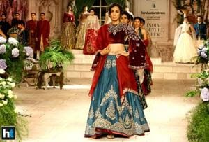Large puffed sleeves, flowy gowns, printed lehengas paired with muted blouse were some of the highlights of designer Anju Modi's collection at the India Couture Week 2018.