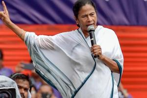 West Bengal chief minister Mamata Banerjee addresses a rally, in Kolkata on July 21, 2018.