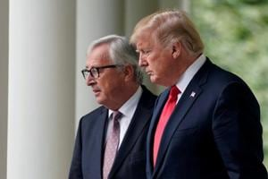 US President Donald Trump and President of the European Commission Jean-Claude Juncker walk together before speaking about trade relations in the Rose Garden of the White House in Washington, US.
