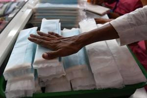 Employees of Myna Mahila Foundation prepare sanitary pads at their office in Mumbai. The Centre withdrew GST on sanitary pads as a part of slew of changes to its tax regime ahead of 2019 elections.
