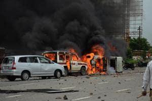 Around 150 vehicles were burnt inNavi Mumbai by protesters.