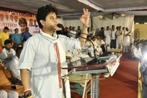 On Friday, Jyotiraditya Scindia held a divisional level meeting in Hoshangabad, where he discussed election strategy and distributed work among committee members.