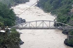 Torrential rain in the Sutlej catchment in Kannaur district has increased the water level.