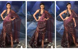 At India Couture Week 2018, designer Amit Aggarwal draped Shilpa Shetty Kundra in a quirky, edgy dress inspired by the traditional saree. (Amal KS/HTPhoto)