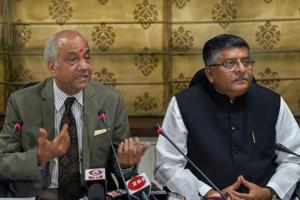 Justice B N Srikrishna addresses the media after submitting a report on