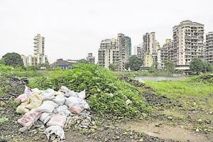 Sacks of debris dumped near the holding pond at Sector 19 in Kharghar. Residents have been fighting to save it.