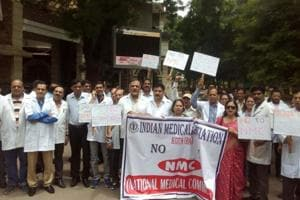 Doctors under the aegis of Indian Medical Association took out a rally in Kota on Saturday against central government's National Medical Commission Bill 2017.