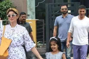 Akshay Kumar stepped out for lunch with daughter Nitara and wife Twinkle Khanna.