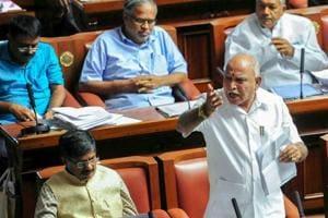 Former Karnataka Chief Minister BS Yeddyurappa speaks during Karnataka legislative assembly session.
