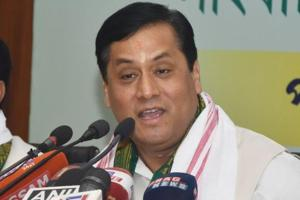 Assam chief minister Sarbananda Sonowal addresses a press conference in Guwahati.