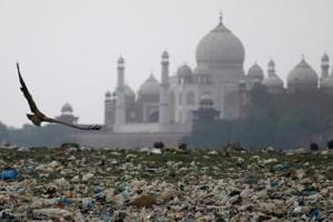 Garbage is seen on the polluted banks of the river Yamuna near the historic Taj Mahal in Agra. Dissatisfied with the working of the Taj Trapezium Zone (TTZ) Authority, environmentalist, MC Mehta, petitioned for setting up a special body in place of the TTZ.
