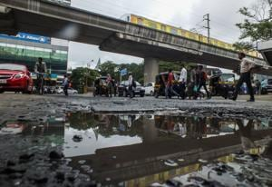 The complaint about potholes near the Western Express Highway Metro station in Andheri (east) remains unattended.
