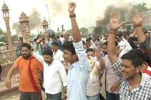 Protesting against the encounter death of gangster Anandpal,  Rajput outfits had burnt tyres and staged protest in Bikaner .