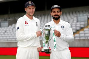 England skipper Joe Root (L)is also aware a player of Virat Kohli's class will know how to make amends for his failures in 2014.