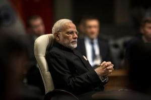 Prime Minister Narendra Modi looks on during the BRICS Summit in Johannesburg, South Africa.