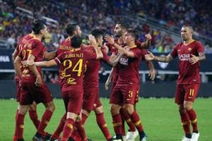 Roma celebrates the penalty shot goal by Diego Perotti #8 of Roma against Barcelona in the second half at AT&T Stadium on July 31, 2018 in Arlington.