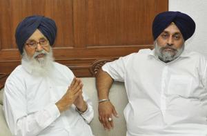 Former Punjab chief minister Parkash Singh Badal and SADpresident Sukhbir Badal