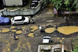Potholes at Sion in Mumbai
