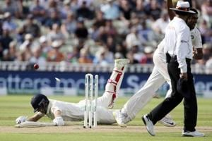 England captain Joe Root is run out after a throw from India captain Virat Kohli on day one of the First Test match at Edgbaston.