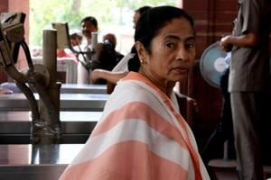 Chief minister of West Bengal Mamata Banerjee arrives at the Parliament in New Delhi on August 1.