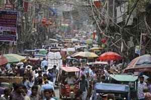 A crowded market place in New Delhi.