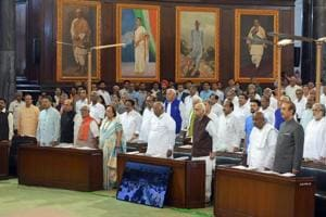 Members stand for the national anthem during a function to confer Outstanding Parliamentarian Awards, at the Central Hall of Parliament House, in New Delhi on Wednesday, Aug 1, 2018.