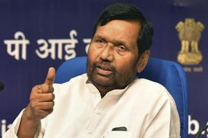 Food and Civil Supplies Minister Ram Vilas Paswan at a press conference regarding the achievements of his ministry in the last 4 years of the NDA government, in New Delhi.