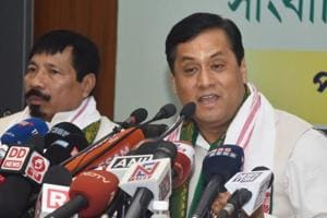 Assam Chief Minister Sarbananda Sonowal speaks at a press conference in Guwahati on May 24, 2018.