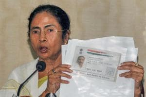 West Bengal chief minister Mamata Banerjee addresses a press conference over the final National Register of Citizen (NRC) draft of Assam at Nabanna in Howrah on Monday.