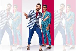 Mayank Dagar (left) is a super talented cricketer whereas Jehan Daruvala  is  a celebrated motor sports racer.  Mayank wears a suit from SS Homme; T-shirt, United Colors of Benetton; sandals, Zara  and Jehan  wears a suit from SS Homme; cardigan and sandals, Zara. Styling by Nazneen Harianawala, Make-up and hair: Ashwin Shelar