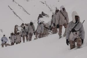 ITBP personnel patrol at Indo China border in Uttarakhand.