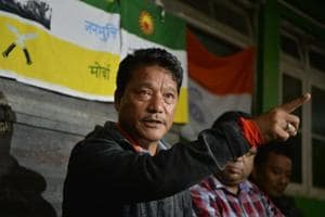 A three-storeyed house at Patlaybas belonging to Gorkhaland Janmukti Morcha leader Bimal Gurung and his wife, Asha, were attached on Wednesday.