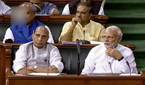 Home minister Rajnath Singh in Lok Sabha during the Monsoon session of Parliament, in New Delhi.