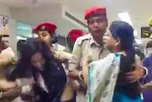 Trinamool Congress delegation being stopped at Silchar airport by Assam Police as they arrived to assess the situation there in the wake of the publication of the complete draft of the citizen register on Thursday.