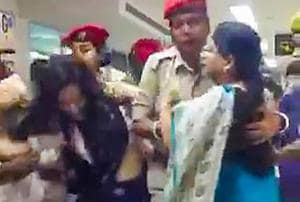 Trinamool Congress delegation being stopped by Assam Police as they arrived to assess the situation in Assam in the wake of the publication of the complete draft of the NRC, at Kumbhirgram airport in Silchar on Thursday.