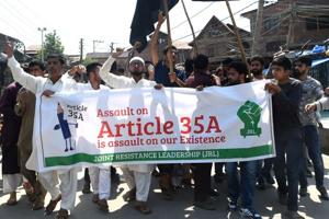 Kashmiris carry out a demonstration over Article 35A and 370, in Srinagar on August 3, 2018. The Jammu and Kashmir government  has sought  an adjournment of the hearing onAugust 6 in the Supreme Court on a batch of petitions challenging the validity of Article 35A of the Constitution.