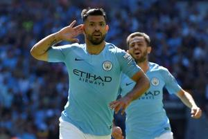 Soccer Football - FA Community Shield - Manchester City v Chelsea - Wembley Stadium, London, Britain - August 5, 2018 Manchester City's Sergio Aguero celebrates scoring their first goal REUTERS/Toby Melville