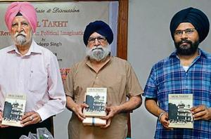 (From left) Agricultural economist and Central University of Punjab chancellor Sardara Singh Johl, former JNU professor Harjit Singh Gill and US-based Sikh scholar Amandeep Singh during the release of the latter's book in Amritsar on Sunday.